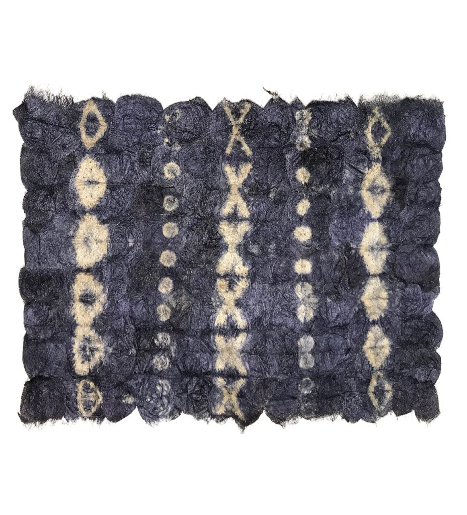 Shibori Silk Placemat: Navy Blue