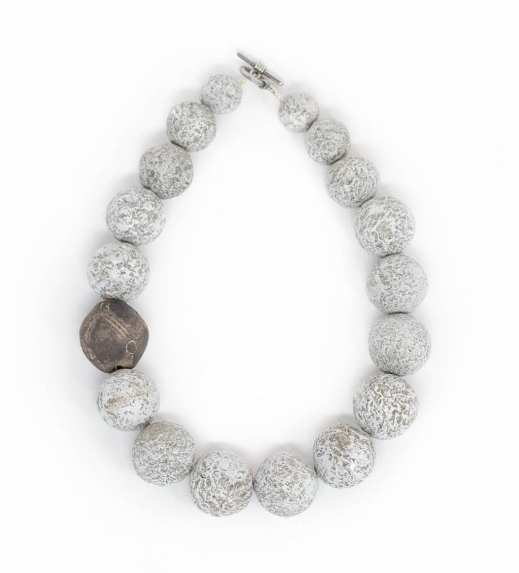 Short Grey Necklace with Vintage Mali Bead