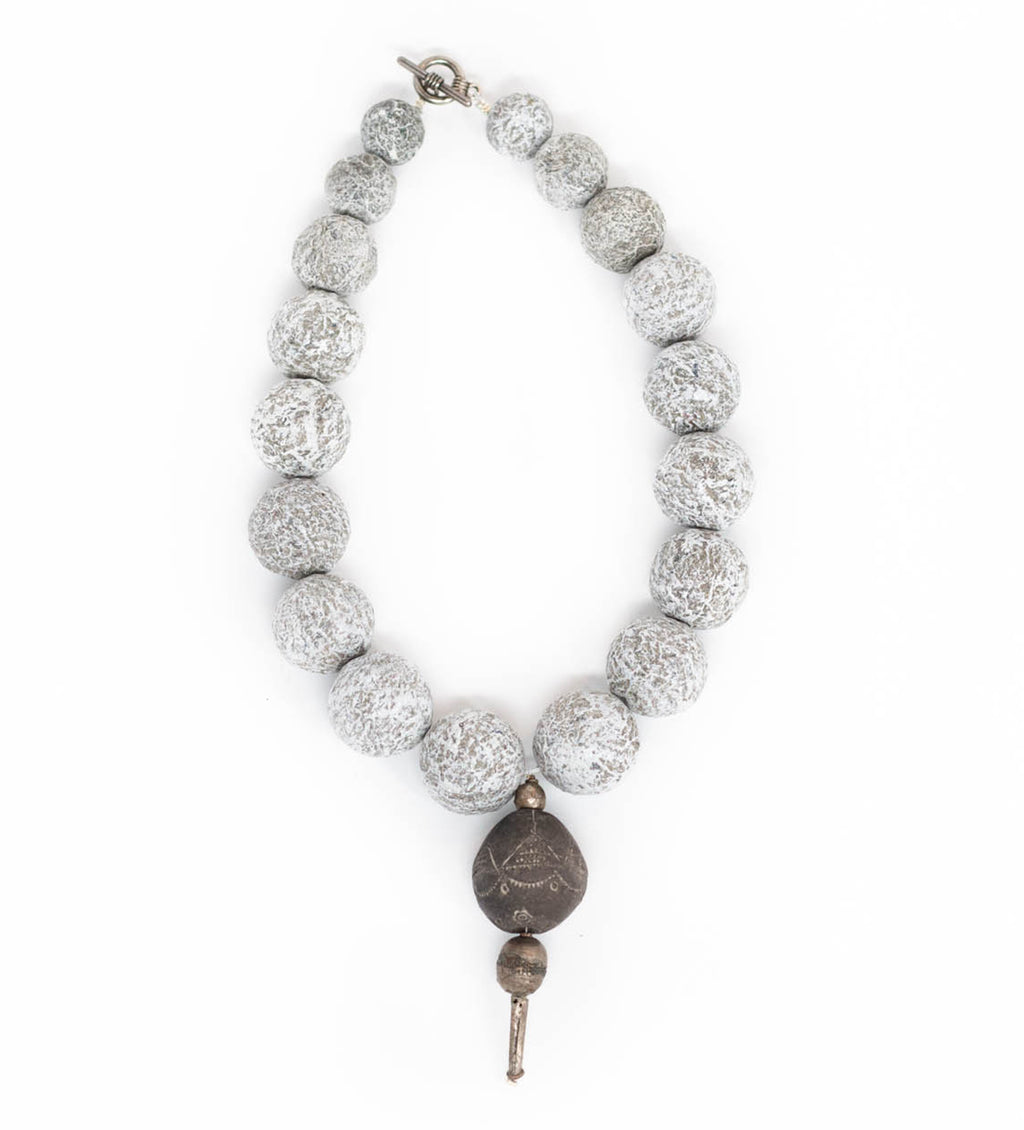 Short Grey Necklace with Vintage Mali and Ethiopian Bead
