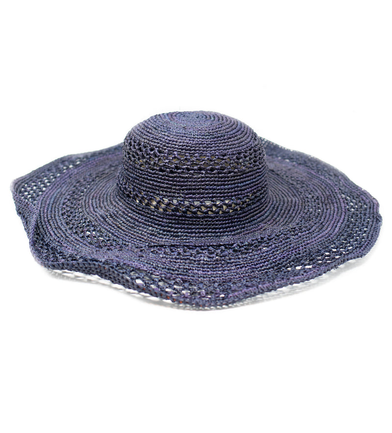 Sienna Wide Brim Sun Hat: Navy
