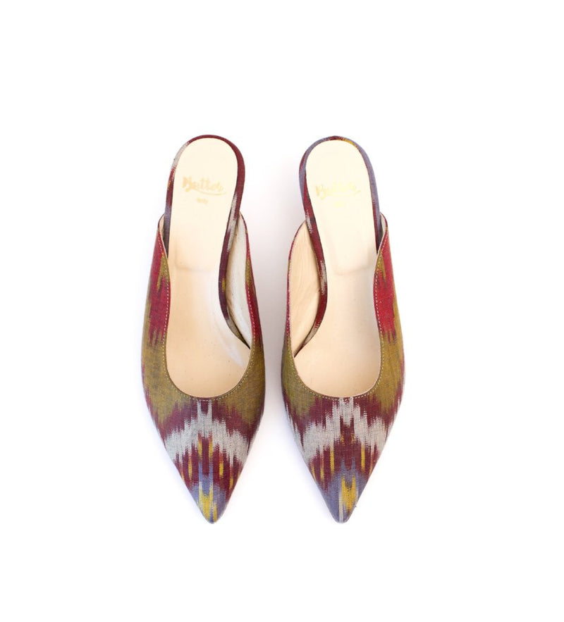 Signature Ikat Kitten-Heeled Mules