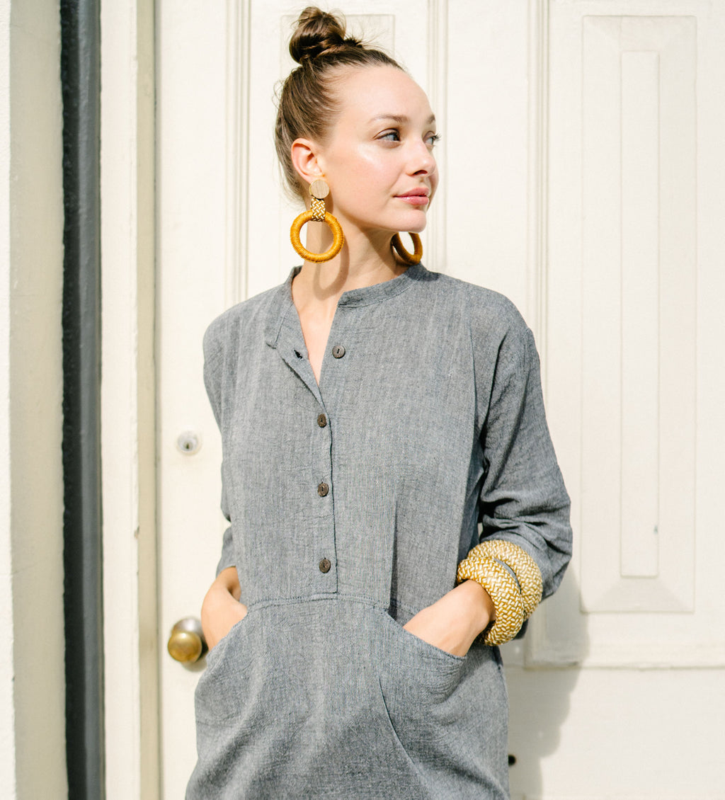 Sile Button Caftan: Grey