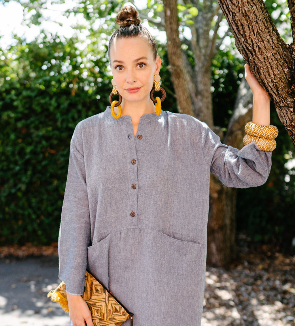 Sile Button Caftan: Marine