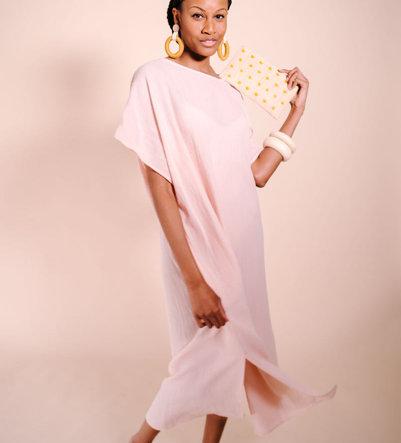 Sile Caftan Dress: Blush