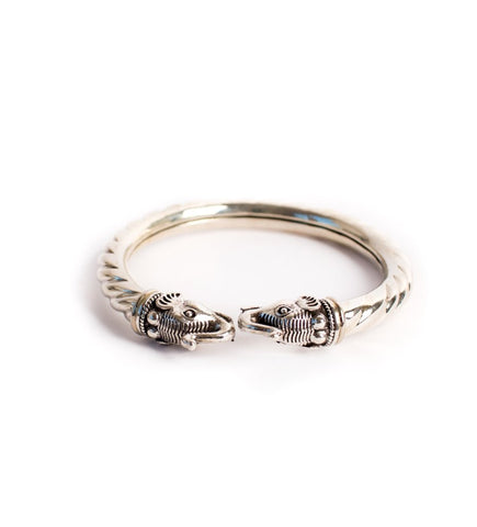 Silver Twisted Bangle with Elephants