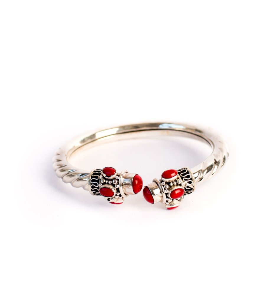 Silver Twisted Bangle with Red Stones