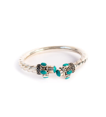 Silver Twisted Bangle with Turquoise Stones