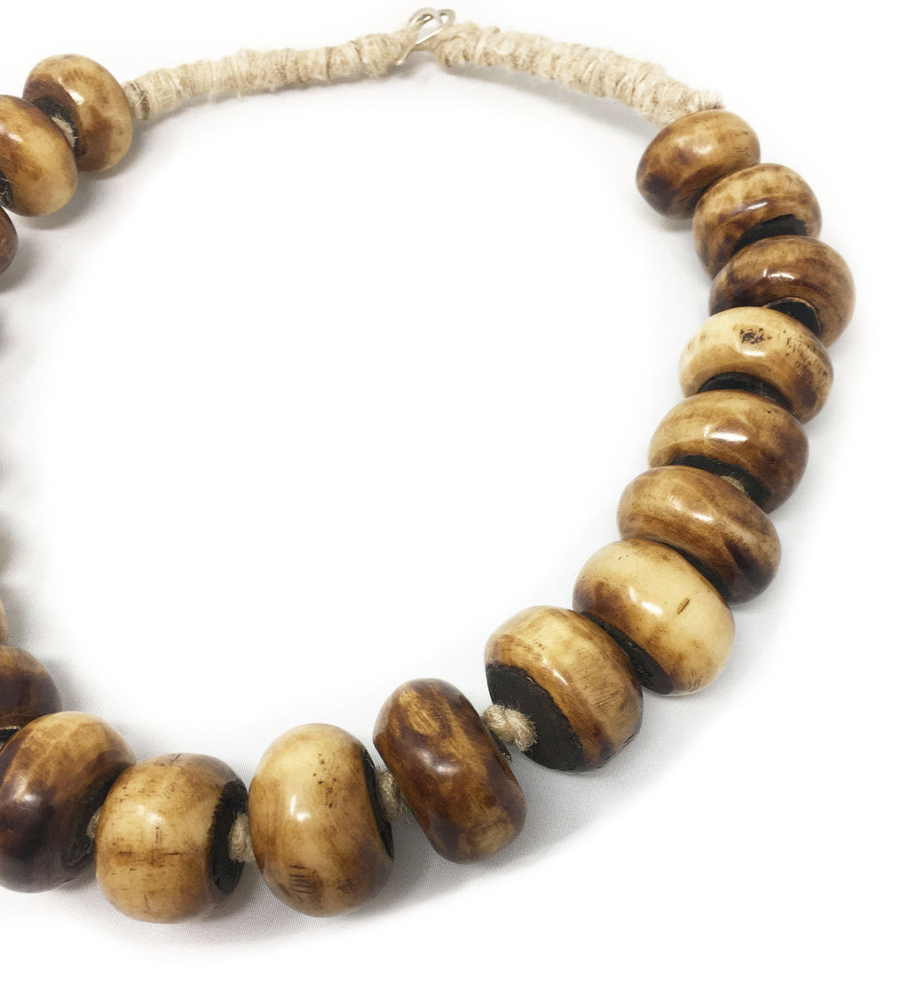 Singular Strength African Bone Beaded Necklace: Two Tone Short
