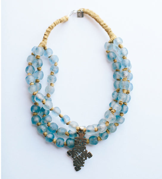 Blue African Glass Bead Triple Strand Necklace with Ethiopian Cross