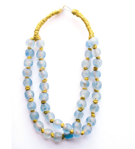 Luminescent African Glass Beads: Sky Blue Double Strand