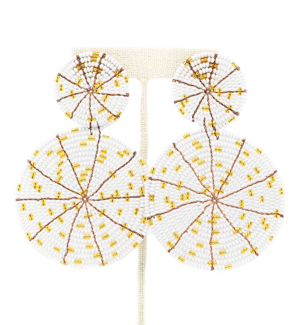 Skyburst Earrings: White with Gold