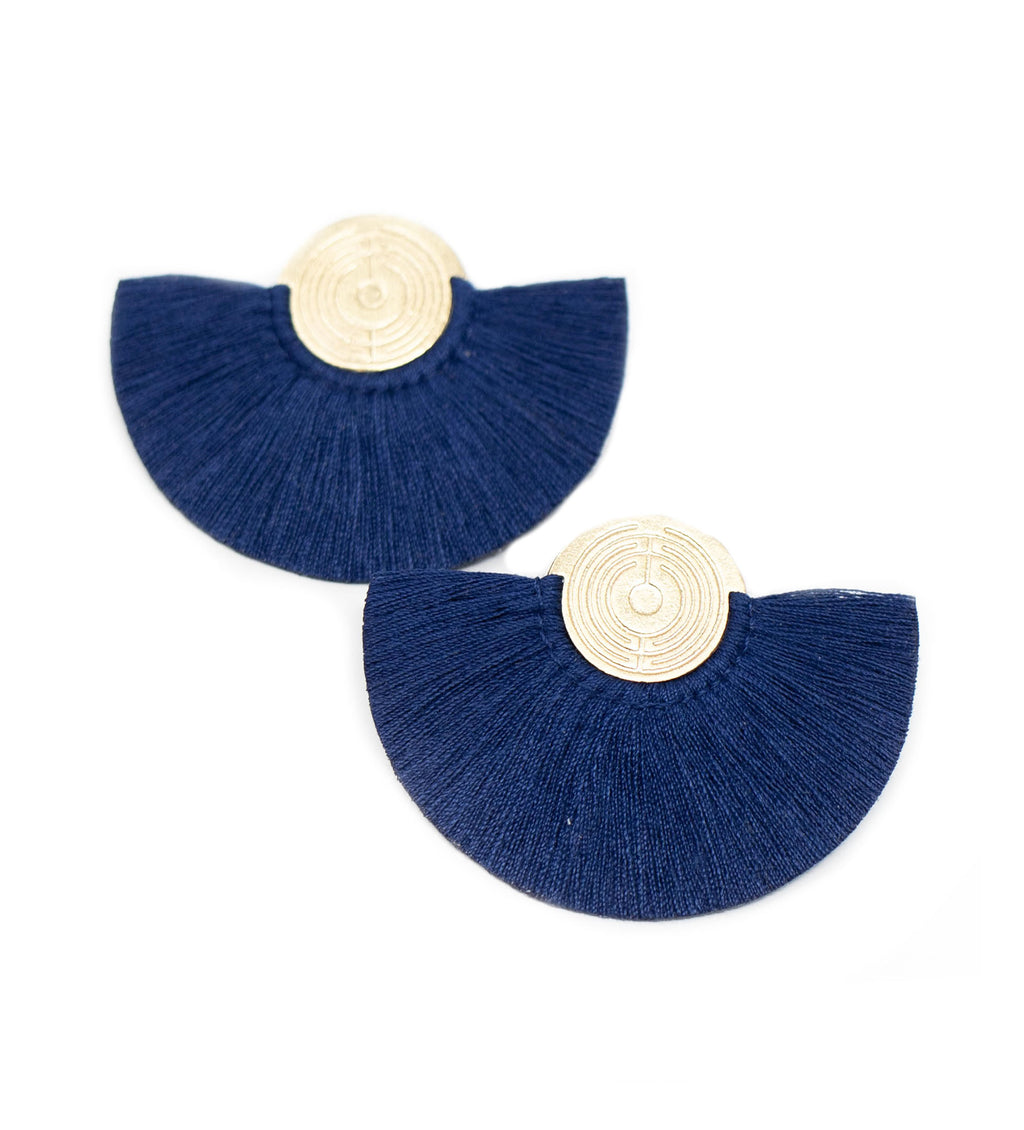 Small Fringe Crescent Earring: Navy