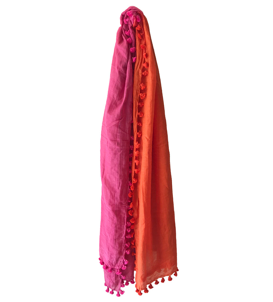 Smita Pom Pom Shawl: Pink and Orange