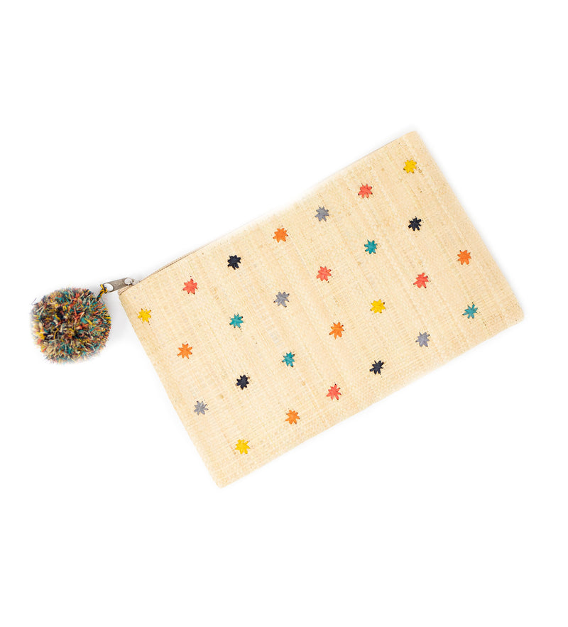 Sofia Woven Pouch with Pom