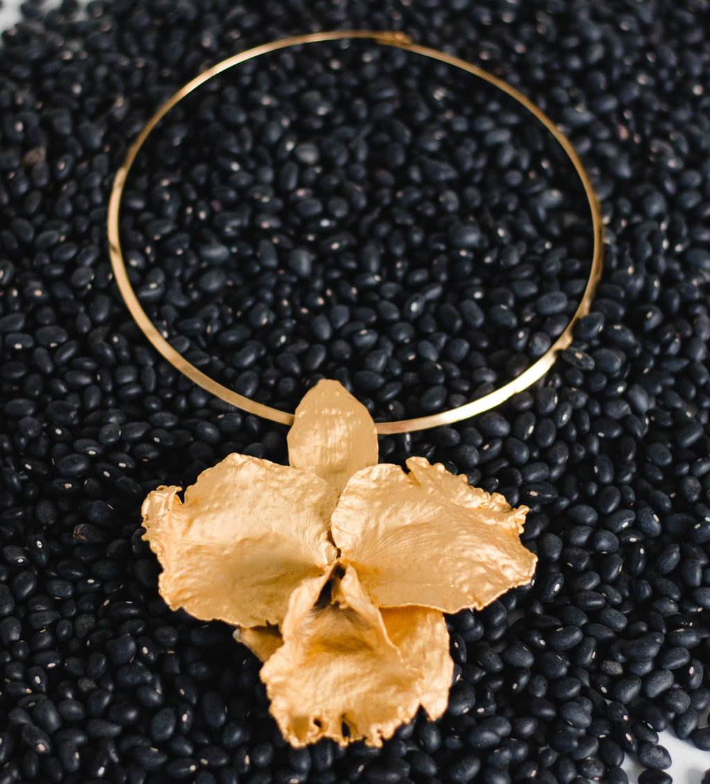 Stand Out Gold Orchid Necklace