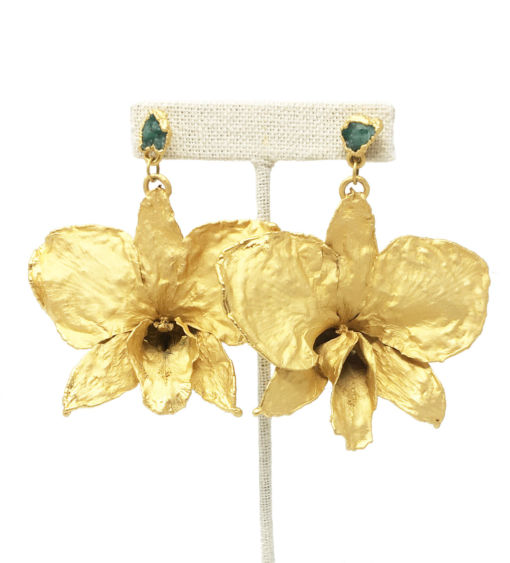 Statement Orchid Earring with Emerald Stone