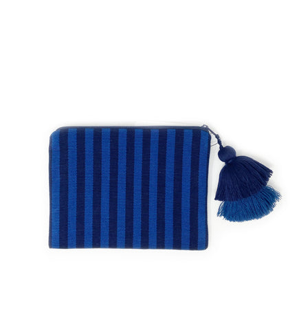 Sola Striped Pom Pom Bag: Navy