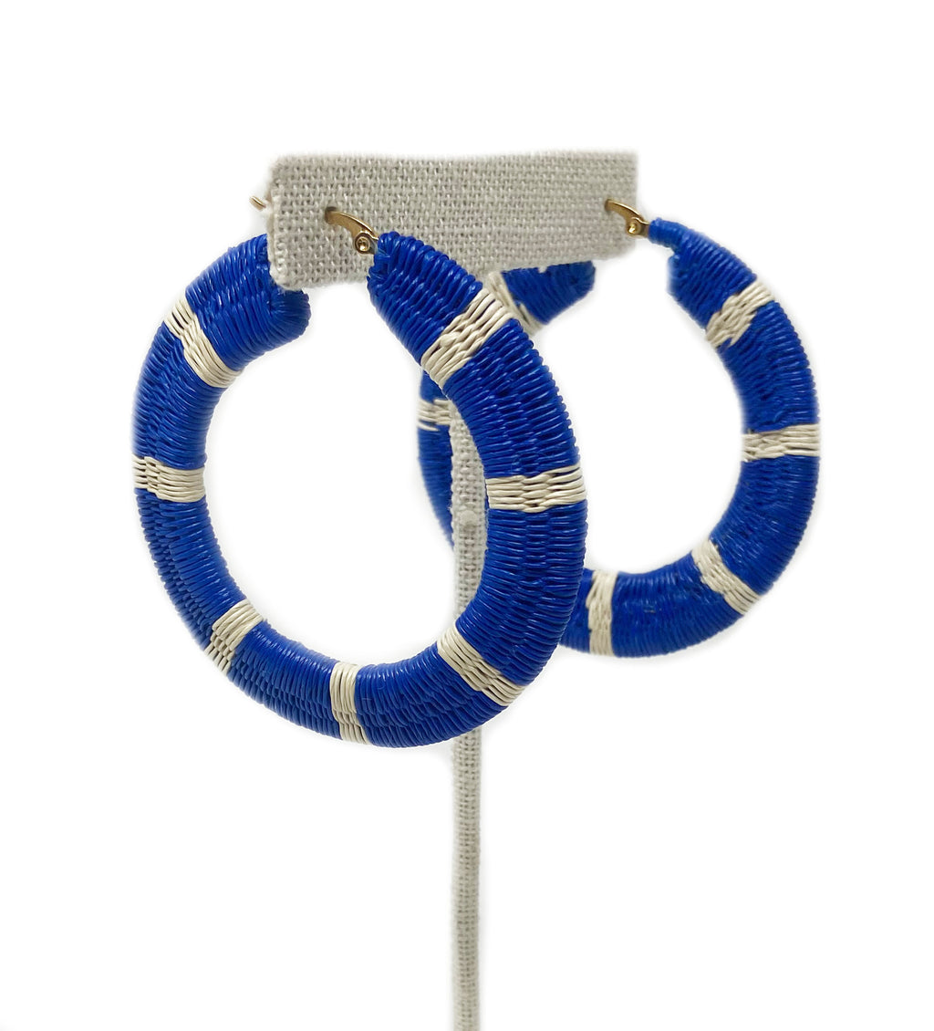 Striped Woven Hoop Earring: Blue and White