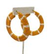 Striped Woven Hoop Earring: Mustard and White