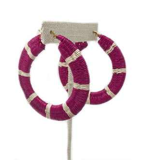 Striped Woven Hoop Earring: Pink and White