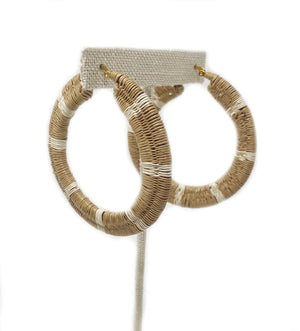 Striped Woven Hoop Earring: Tan and White