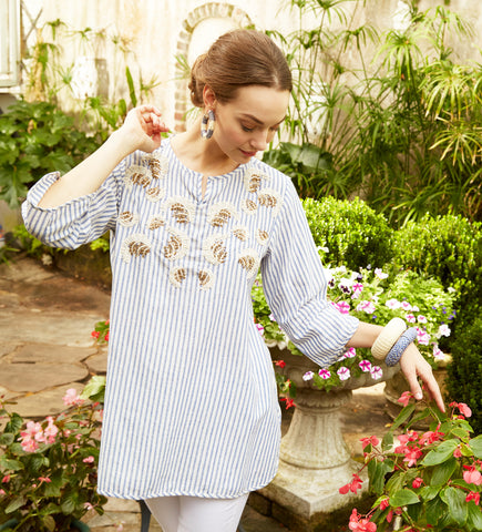 Radha Printed Cotton Top: White and Navy