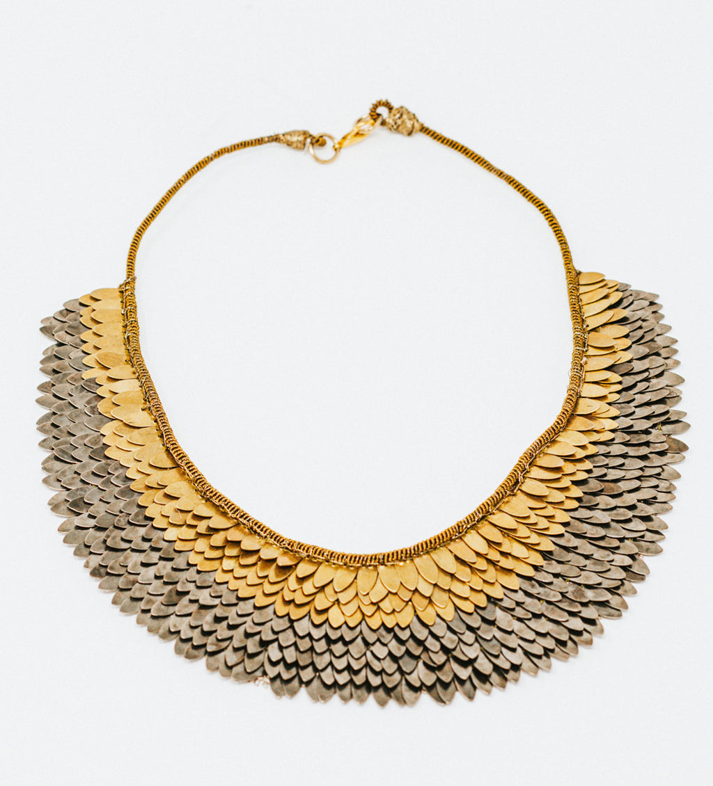 Sudarshan Gold and Gunmetal Short Necklace