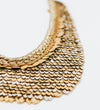 Sudarshan Gold and Gunmetal Long Bib Necklace