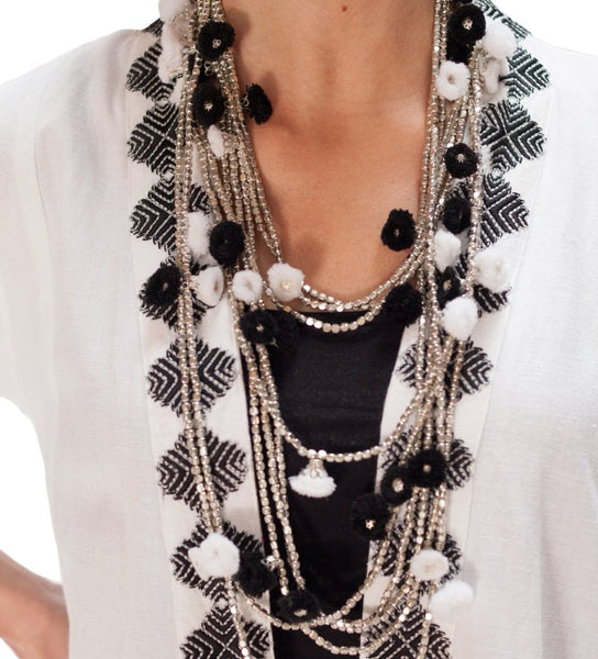 Extra Long Pom Pom Necklace: Black