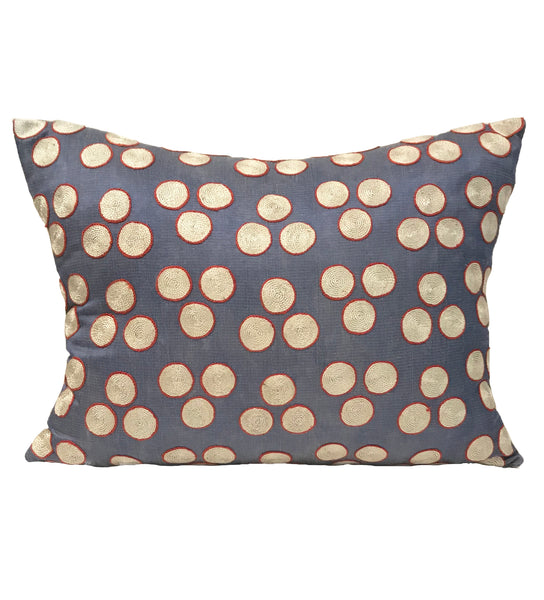 Suzani Pillow: Red and Purple Dot