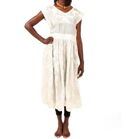 Kyrgyz Felted Empire Dress: White on White
