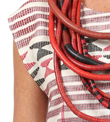 African Strip Weaving Shift: Red