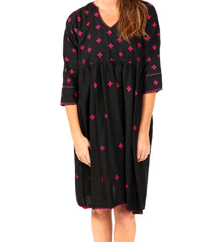 Embroidered Afghan Frock:  Fuschia on Black