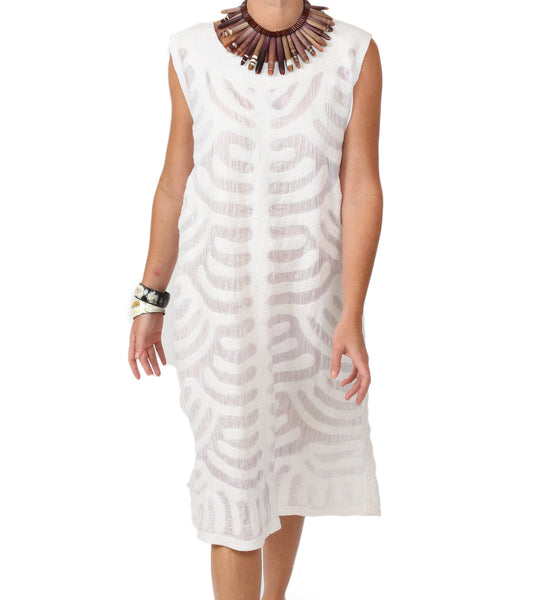 Kyrgyz Felted Sheath Dress: White on White