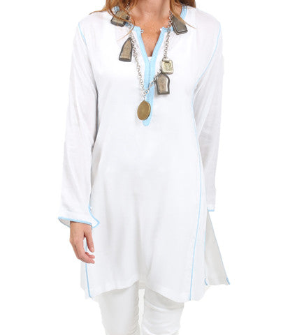 Moroccan Hand Embroidered Tunic: White with Sky Blue Trim