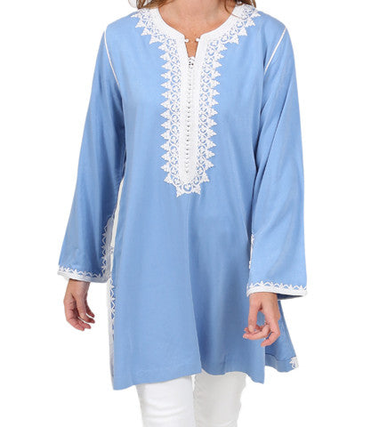 Moroccan Tunic: Blue/White