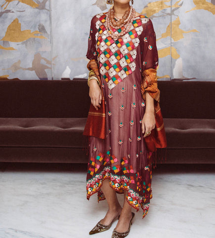 Phulkari Silk Embroidered Caftan: Plum