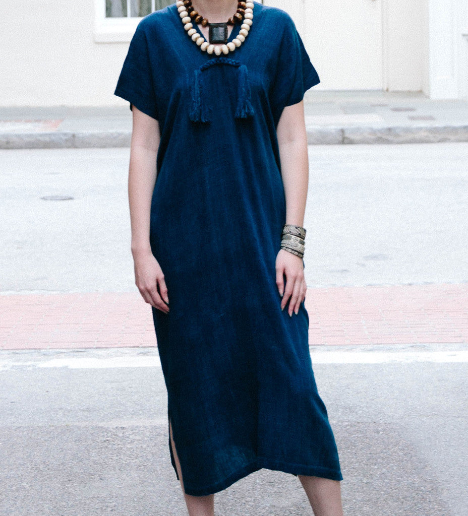 Wild Silk Long Dress: Indigo