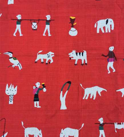 Story Cloth Throw From Myanmar: Red