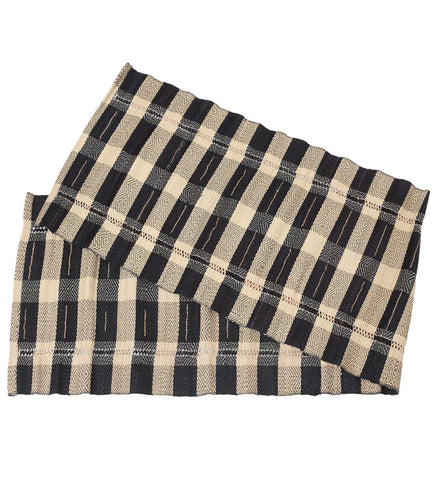 Black Plaid Vetiver Table Runner