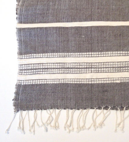 Ethiopian Cotton Hand Towels:  Charcoal with Natural Ribs