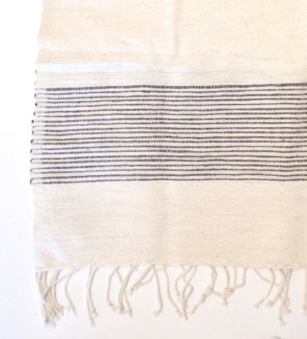 Ethiopian Cotton Hand Towels:  Natural with Charcoal Stripes