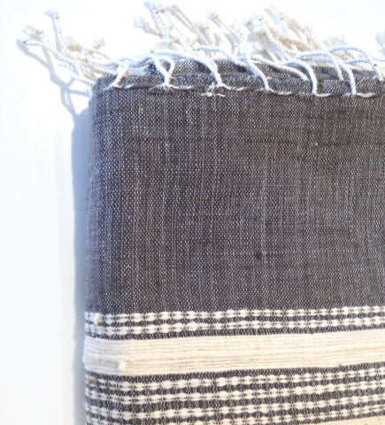Ethiopian Cotton Bath Sheet: Charcoal with Natural Ribs