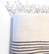 Hand Embroidered Cocktail Napkins: Horizontal Lines White