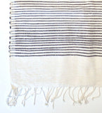 Ethiopian Cotton Bath Sheet: Natural with Gray Stripes