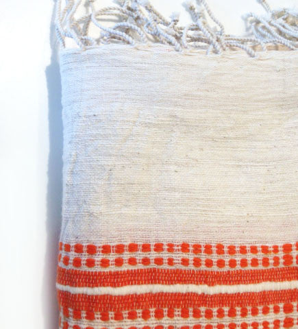 Ethiopian Cotton Bath Sheet: Tangerine Ribs