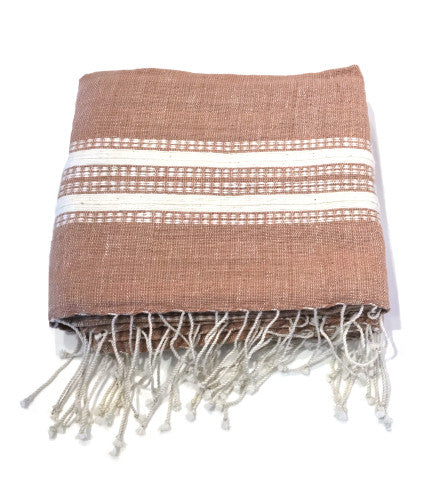 Ethiopian Cotton Bath Sheet: Rattan with Natural Ribs