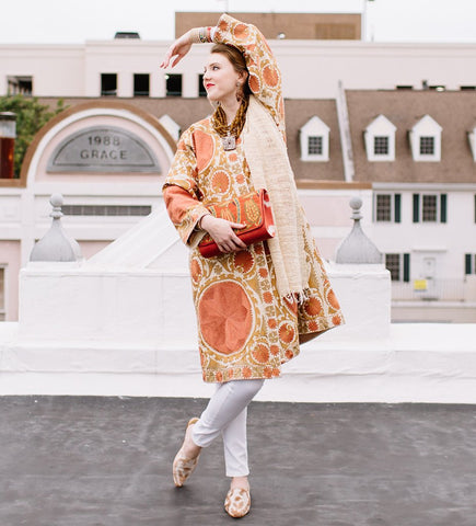 Velvet Ikat Swing Coat: Holiday