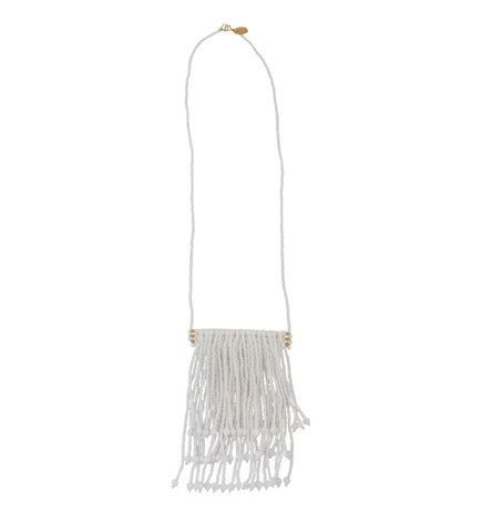 Triple Tassel Necklace: White