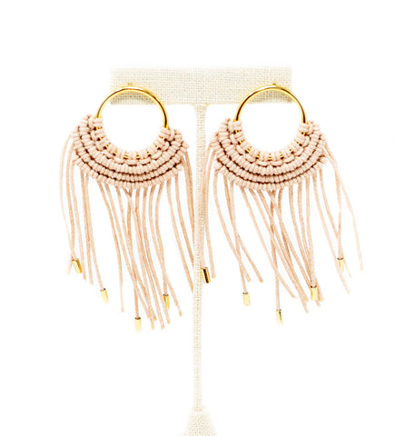 Small Fringe Crescent Earring: Emerald